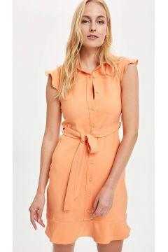 DeFacto Kadın Düğme Detaylı Kuşaklı Dokuma Elbise(125925701)