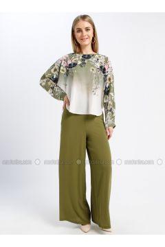 Green - Floral - Crew neck - Unlined - Dresses - Güzey(110339243)