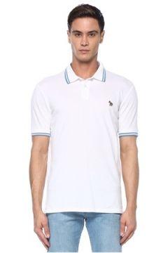 PS by Paul Smith Erkek Beyaz Polo Yaka Logolu T-shirt S EU(117578402)