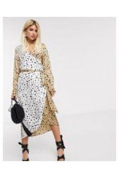 Never Fully Dressed - Vestito midi a portafoglio con cintura e stampa leopardata a contrasto-Multicolore(120331278)
