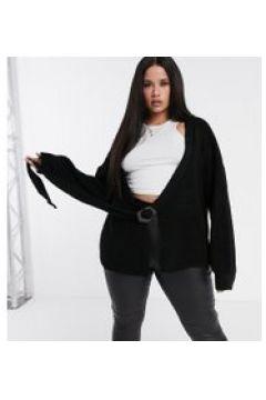 Missguided Plus - Cardigan con maniche a palloncino e fibbia nero(120751642)