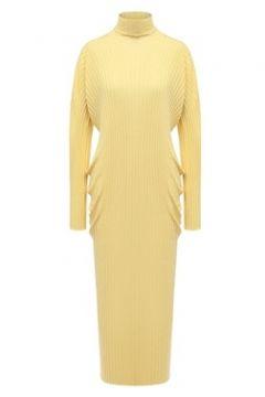Bottega Veneta Kadın Sarı Dik Yaka Uzun Kol Midi Yün Triko Elbise XS EU(118488454)