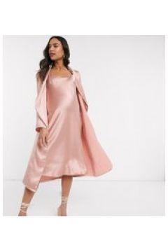 Queen Bee - Baby Shower - Set con vestito midi premaman arricciato con spalline sottili e giacca drappeggiata rosa(120332609)
