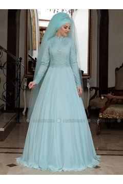 Mint - Fully Lined - Crew neck - Muslim Evening Dress - Al-Marah(110328367)
