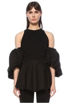 Alexander McQueen Kadın Siyah Halter Yaka Fırfır Detaylı T-shirt 38 IT(124607025)