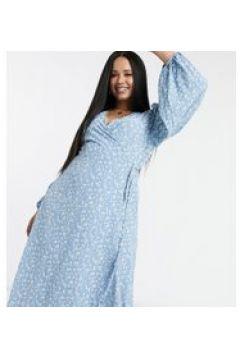Glamorous Curve - Vestito midi a portafoglio a fiorellini-Blu(120330004)