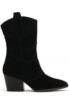 Ayakkabı Modası Siyah Süet Kadın Bot(110929343)