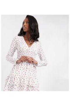 Fashion Union Tall - Vestito corto con maniche a sbuffo e volant sul fondo a pois-Bianco(120330506)