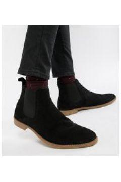 ASOS DESIGN Wide Fit - Chelsea-Stiefel aus schwarzem Wildleder mit naturfarbener Sohle - Schwarz(94154001)