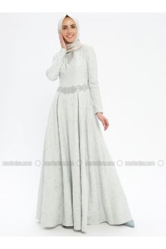 Baby Blue - Fully Lined - Crew neck - Muslim Evening Dress - Pia(110335750)