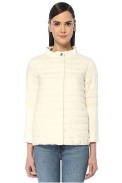 Herno Kadın Beyaz Dik Yaka Garnili Puff Mont 42 IT(109199027)
