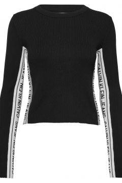 Stripe Logo Sweater Strickpullover Schwarz CALVIN KLEIN JEANS(116951121)