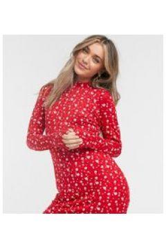 Wednesday\'s Girl - Vestito corto a maniche lunghe a fiorellini-Rosso(120438050)