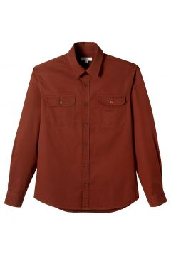 Camisa recta con bolsillos en el pecho, de manga larga(119398927)