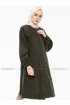 Khaki - Fully Lined - Crew neck - Coat - Gzd(110339875)