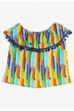 Koton Kız Çocuk Desenli Poplin Kumastan Yakasi Firfirli Ponponlu Bol Kesim Bluz(125085443)