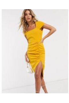 Lavish Alice - Vestito midi con ruches e scollo quadrato giallo senape(121793310)