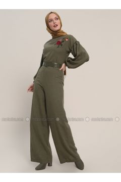 Khaki - Unlined - Crew neck - Cotton - Jumpsuit - Refka(110317020)
