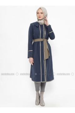 Navy Blue - Unlined - Point Collar - Cotton - Coat - Tekbir(110335670)