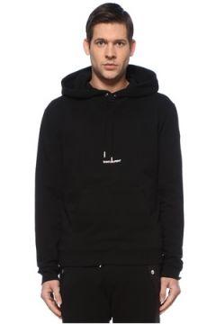 Saint Laurent Erkek Siyah Kapüşonlu Logo Detaylı Sweatshirt S EU(127545729)