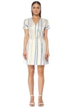 Network Kadın Mavi Beyaz V Yaka Çizgili Mini Anvelop Elbise 36 EU(118330176)