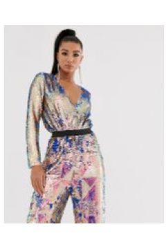 TFNC - Bodysuit mit Wickeldesign vorne und mehrfarbigen Pailletten - Mehrfarbig(95033121)