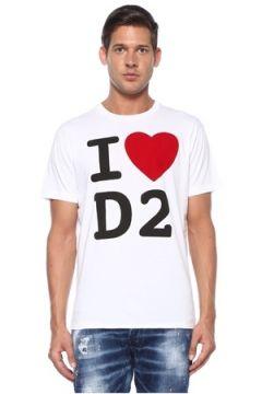 Dsquared2 Erkek Beyaz Logo Baskılı T-shirt XL EU(119423297)