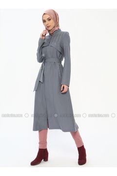 Gray - Unlined - Crew neck - Topcoat - Butik Neşe(110335615)