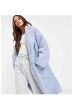 Reclaimed Vintage Inspired - Cappotto lungo in pile borg blu(123406058)