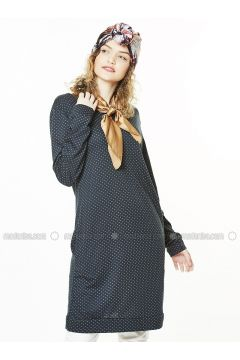 Navy Blue - Multi - Crew neck - Cotton - Tunic - Gippe Collection(110332431)