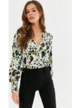 Influence - Blusa in raso con bottoni con stampa astratta leopardata-Multicolore(120380072)