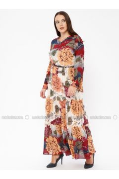 Maroon - Multi - Crew neck - Fully Lined - Dresses - Le Mirage(110338922)