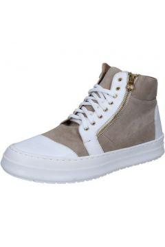 Baskets Fdf Shoes sneakers blanc cuir beige daim BZ390(115398954)
