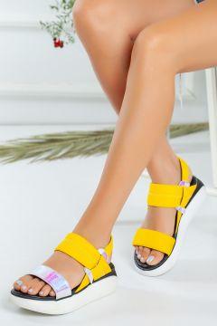 Favi Kadın Sarı Hologram Detaylı Streç Sandalet(124973968)