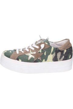 Chaussures 2 Stars sneakers vert textile marron daim ap710(115443204)