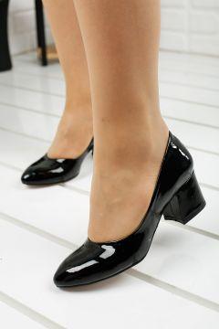 Ayakland Kadın Siyah Rugan 5cm Topuklu Ayakkabı 97544-312(124322073)