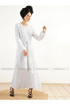 White - Stripe - Crew neck - Unlined - Dresses - Muni Muni(110315319)