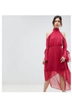 True Decadence Tall Premium - Vestito midi a portafoglio con spalle scoperte e manche svasate-Rosa(124802231)