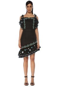 Gül Hürgel Kadın Siyah Nakışlı Asimetrik Fırfırlı Mini Keten Elbise XS EU(119423087)