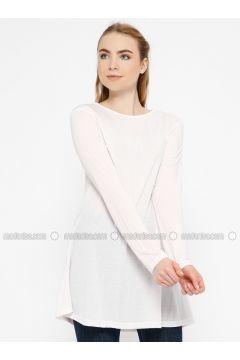 Pink - Crew neck - Cotton - Tunic - Meliana(110327097)