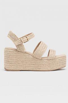Keilabsatz-Sandalen aus geflochtener Raphiafaser Natur(113908501)
