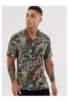 Pull&Bear - Camicia marrone con stampa mimetica e leopardata(112450561)
