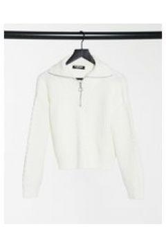Fashion Union - Maglione con zip corta in maglia a trecce-Crema(124783095)
