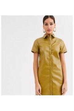 Glamorous Tall - Vestito camicia in morbida ecopelle-Verde(120329442)