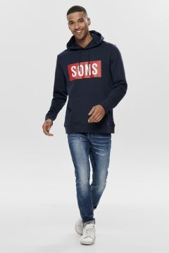 Only & Sons Lacivert Kapüşonlu Baskılı Sweatshirt(113990434)