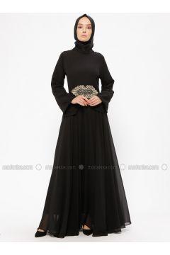 Black - Unlined - Crew neck - Muslim Evening Dress - BÜRÜN(110313623)