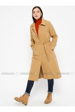 Camel - Unlined - Point Collar - Trench Coat - Pitti Collection(110322743)