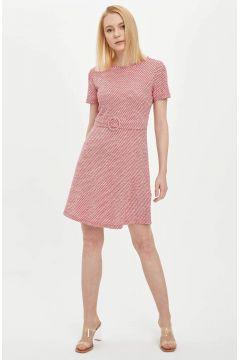 DeFacto Kadın Çizgili Kemer Detaylı Örme Elbise(125923368)