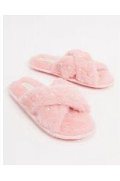 Truffle Collection - Pantofole decorate con fascia incrociata rosa(121793295)