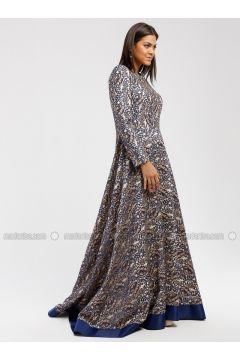 Navy Blue - Multi - Crew neck - Fully Lined - Muslim Evening Dress - DRESSLOVE(110339034)